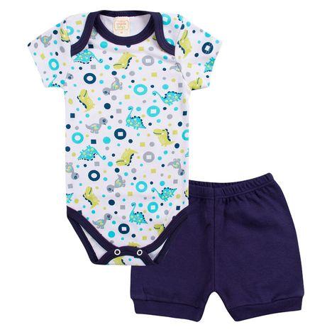 Conjunto Body e Shorts Dino - Azul - A.Babys P